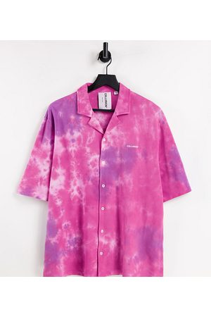 COLLUSION Muži Volnočasové - Unisex oversized pink tie-dye shirt in pique fabric co-ord