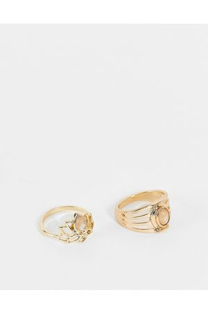 Accessorize Ženy Prstýnky - Lotus ring set with grey stones in gold