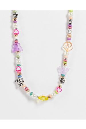ASOS DESIGN Beaded necklace with mixed fun beads-Multi