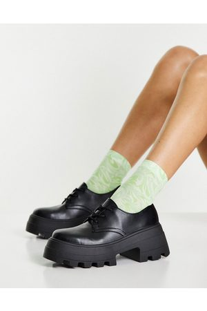 ASOS DESIGN Ženy Do práce - Midnight chunky lace up flat shoes in black