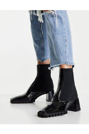 ASOS DESIGN Ženy Kozačky - Remix premium leather sock boots in black
