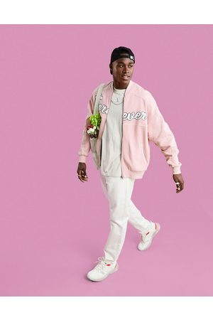 ASOS DESIGN Muži Bombery - Oversized jersey bomber jacket in pink with large text applique