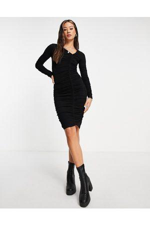 Topshop Long sleeve asymmetric neck ruched mini dress in black