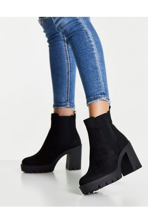 ASOS Eve heeled chunky chelsea boots in black