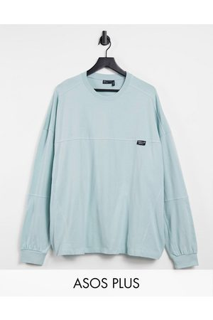 ASOS ASOS Plus Unrvlld supply long sleeve oversized t-shirt with seam detail in washed blue-Green
