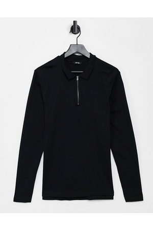 Only & Sons Co-ord long sleeved zip polo in black