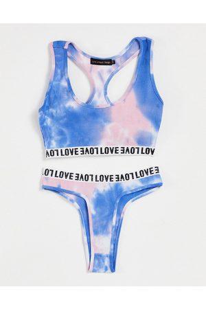 Love & Other Things Ženy Spodní prádlo soupravy - Crop bra and thong set in blue tie dye