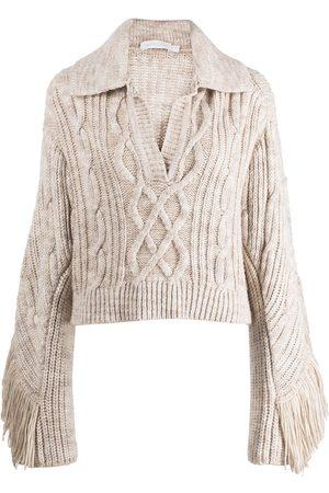 JONATHAN SIMKHAI Kara fringe-detail knitted polo top