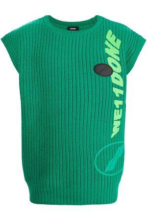 We11done Ribbed logo-knit sleeveless vest