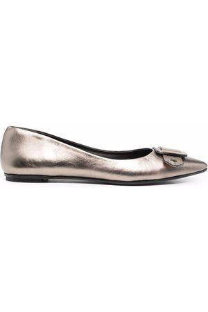 ROBERTO DEL CARLO Metallic pointed-toe ballerina pumps