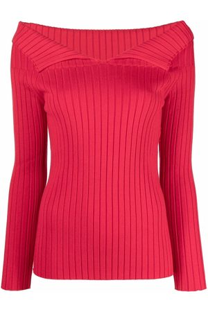 Semicouture Rib-knit off-shoulder top
