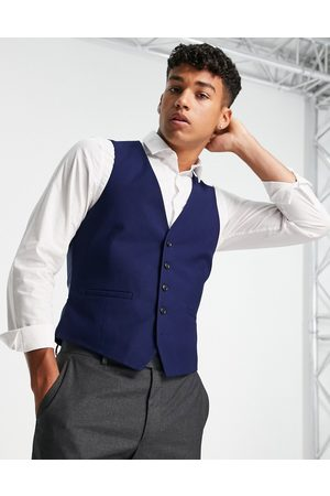 Burton Menswear Burton skinny fit texture waistcoat in navy