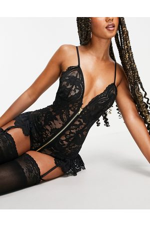 Ann Summers Taylor all over lace zip front bodysuit with suspender detail in black