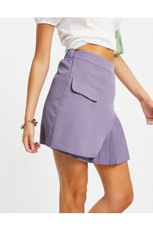 I saw it first Asymmetric pleat detail skirt co ord in dusky lilac-Purple