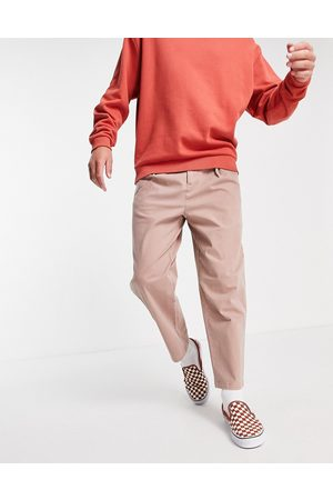 ASOS Wide fit chinos with pleats in pink