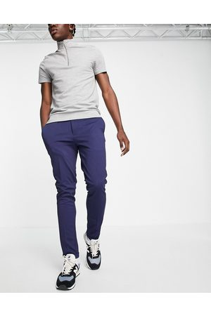jack & jones Muži Chino - Intelligence slim fit stretch trousers with pleats in navy