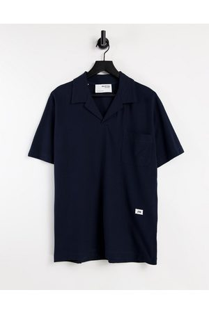 Selected Homme Oversize polo with logo in navy