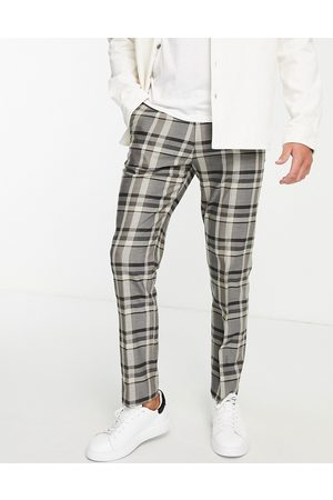 Topman Straight check trousers in stone-Neutral