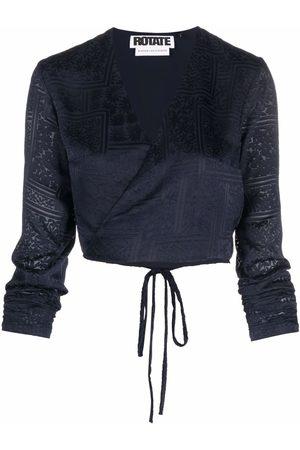 ROTATE Ženy Zavinovací - Cropped longsleeved wrap blouse