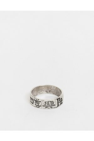 ASOS Muži Prstýnky - Band ring with chinese characters in silver tone