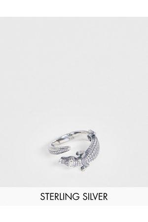 ASOS Muži Prstýnky - Sterling silver ring with crocodile design in silver