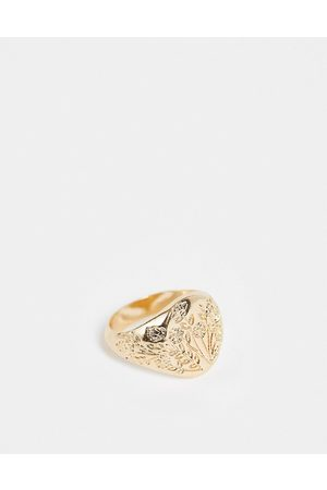 ASOS Muži Prstýnky - Signet ring with flower drawing design in gold tone