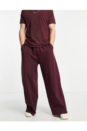 ASOS Muži Tepláky - Co-ord oversized wide leg joggers in burgundy-Red
