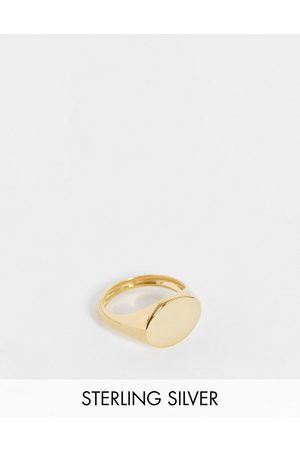 ASOS Sterling silver signet ring in 14k gold plate