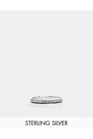 ASOS Muži Prstýnky - Sterling silver band ring with textured design in burnished silver