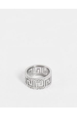 ASOS Muži Prstýnky - Stainless steel band ring with greek wave cut out design in silver tone