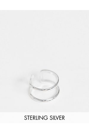 ASOS Muži Prstýnky - Sterling silver ring with double band design in silver
