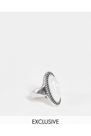 Reclaimed Vintage Inspired moonstone ring in silver