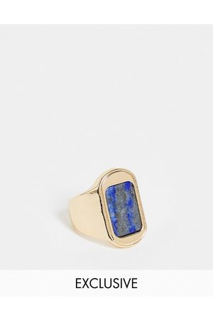 Reclaimed Vintage Inspired signet ring with blue stone in gold