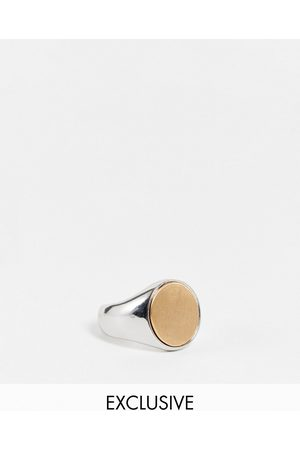 Reclaimed Vintage Inspired brushed signet ring in silver-Multi