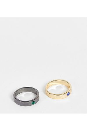 Reclaimed Muži Prstýnky - Inspired band rings with stones in mixed metal 2 pack-Multi