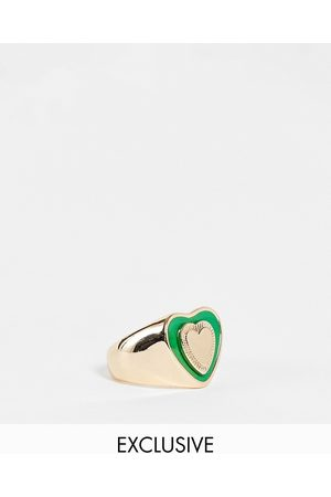 Reclaimed Ženy Prstýnky - Inspired retro heart ring in gold and green