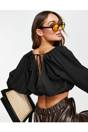 ASOS Batwing wrap top with shirred sleeves in black