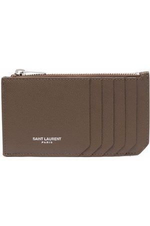 Saint Laurent Zip-up leather cardholder