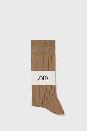 Zara žebrované ponožky z mercerizované bavlny premium