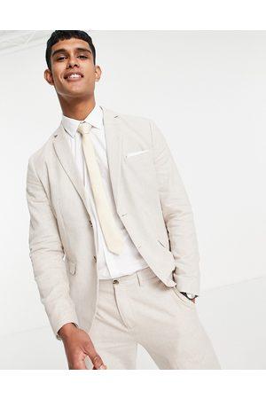 SELECTED Muži Saka - Slim fit linen blend suit jacket in beige-Neutral