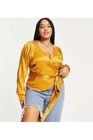 ASOS Ženy Zavinovací - ASOS DESIGN Curve wrap blouse in animal jacquard satin-Gold