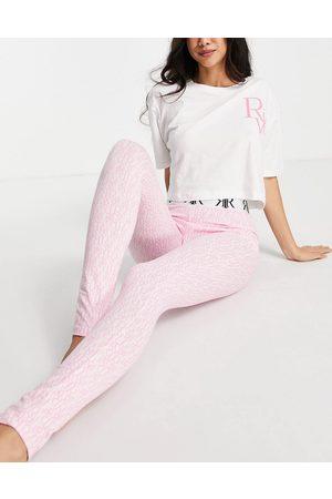 River Island Ženy Spodní prádlo soupravy - Logo monogram pyjama set in pink