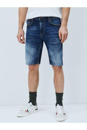 Pepe Jeans Muži Šortky - Pánské tmavě modré džínové šortky Stanley