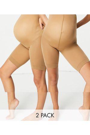 ASOS Ženy Nohavičkové - ASOS DESIGN Maternity anti-chafing shorts 2 pack in golden bronze-Neutral