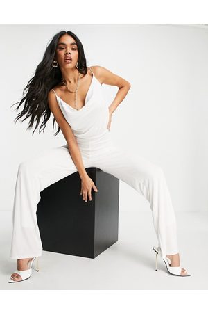 Aria Cove Ženy Overaly dlouhé - Cowl neck wide leg jumpsuit in white