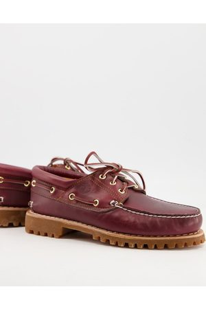 Timberland Muži Pohorky - Authentic 3 eye classic boat shoes in burgundy-Red