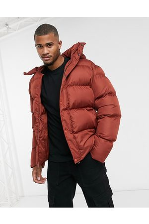 ASOS Sustainable puffer jacket with detachable hood in oxblood-Red