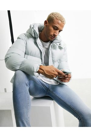 ASOS Sustainable puffer jacket with detachable hood in grey