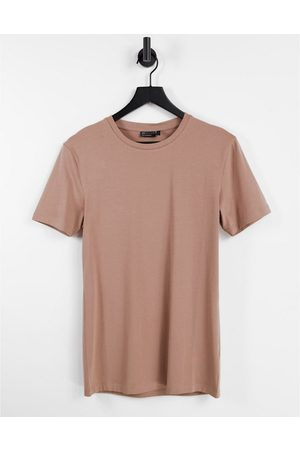 ASOS Organic muscle fit t-shirt with crew neck in brown