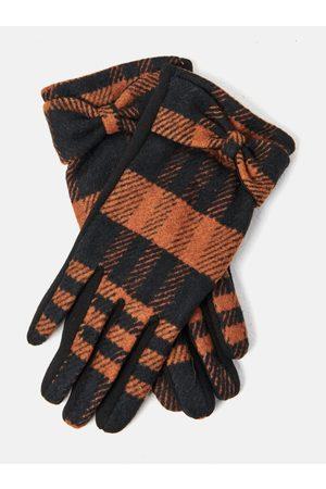 Camaïeu Hnědo-černé kostkované rukavice